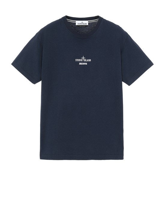 STONE ISLAND 2NS91 STONE ISLAND ARCHIVIO PROJECT_PRESIDENT'S KNIT Short sleeve t-shirt Man Marine Blue