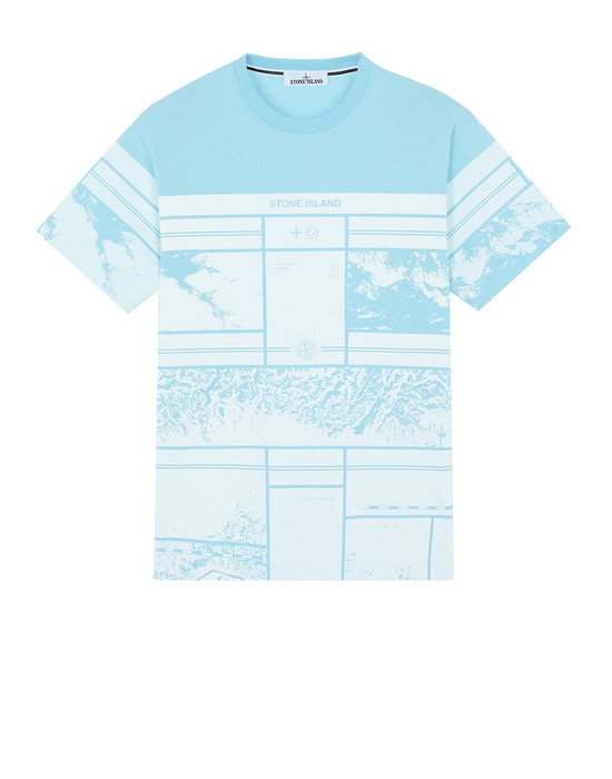 STONE ISLAND 2NS86 MURAL PART 2 Short sleeve t-shirt Man Aqua