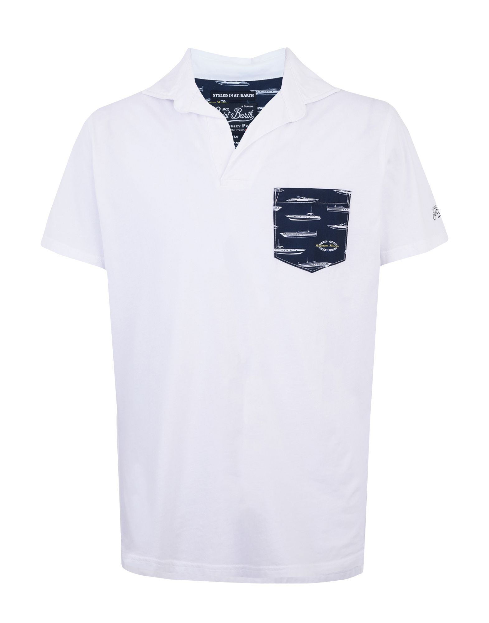 MC2 SAINT BARTH Polo shirts. jersey, logo, embroidered detailing, solid color, polo collar, short sleeves, single pocket. 100% Cotton
