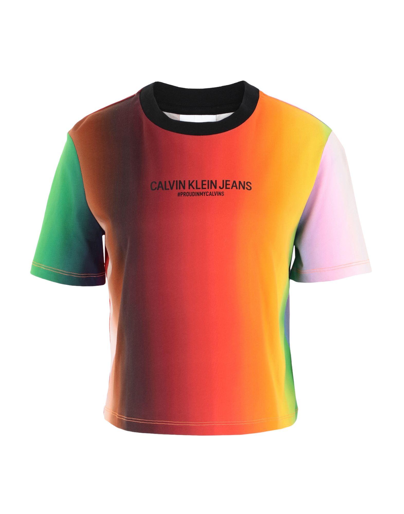 《セール開催中》CALVIN KLEIN JEANS レディース T シャツ オレンジ XS オーガニックコットン 100% PRIDE BLUR MODERN STRAIGHT T-SHIRT