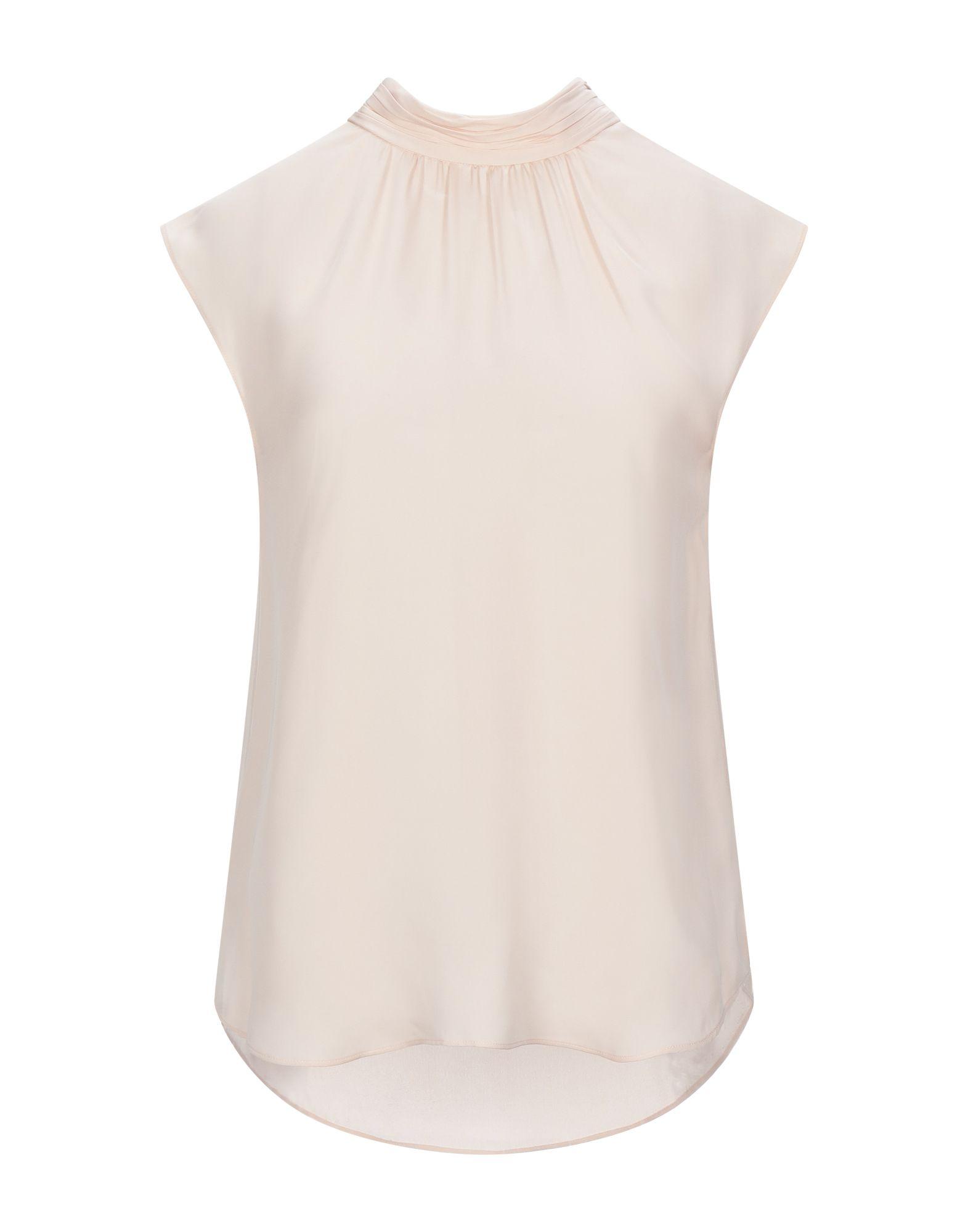 VERONICA BEARD Tops. crepe, no appliqués, basic solid color, round collar, sleeveless, no pockets, rear closure. 100% Silk