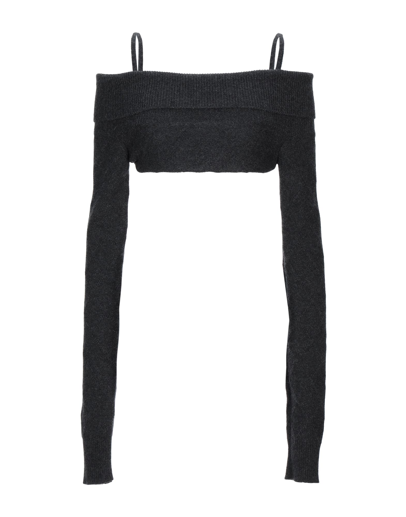 MAISON MARGIELA Shrugs. knitted, laces, lightweight knit, basic solid color, wide neckline, long sleeves, no pockets. 100% Cashmere