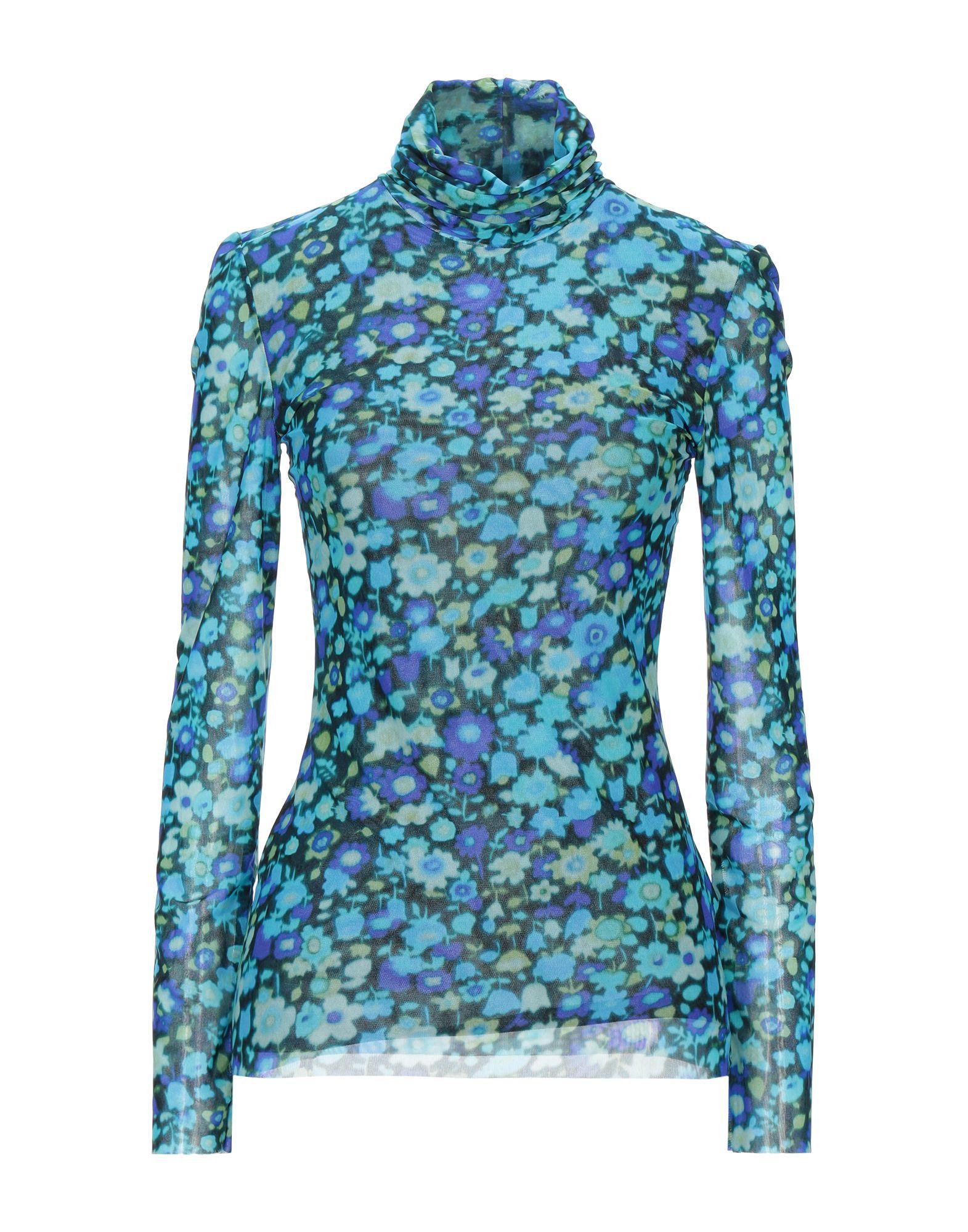 GANNI T-shirts. tulle, no appliqués, floral design, turtleneck, long sleeves, no pockets, stretch. 94% Polyamide, 6% Elastane
