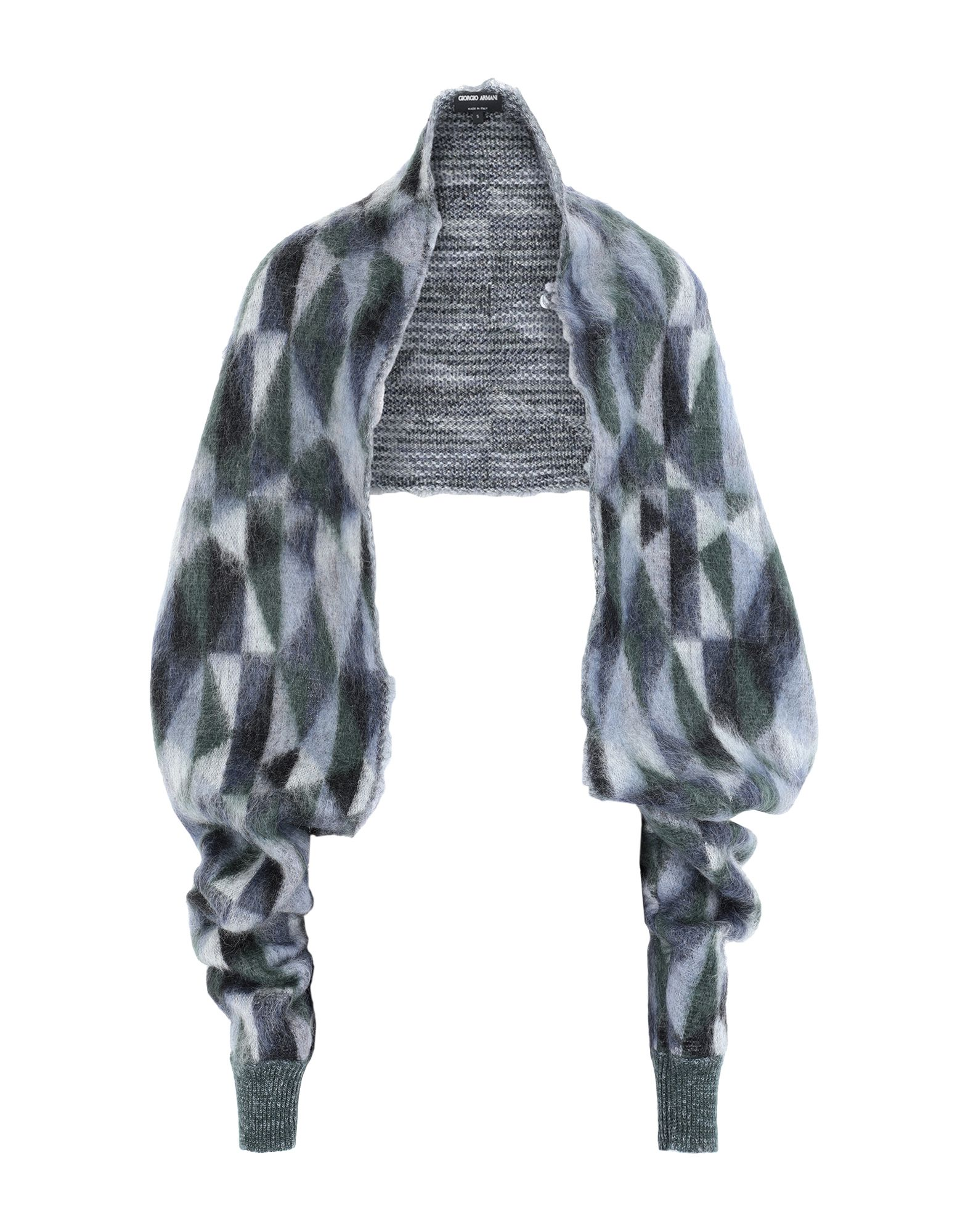 GIORGIO ARMANI Shrugs. knitted, no appliqués, lightweight knit, geometric design, deep neckline, long sleeves, no pockets, small sized. 52% Mohair wool, 34% Polyamide, 7% Wool, 7% Alpaca wool