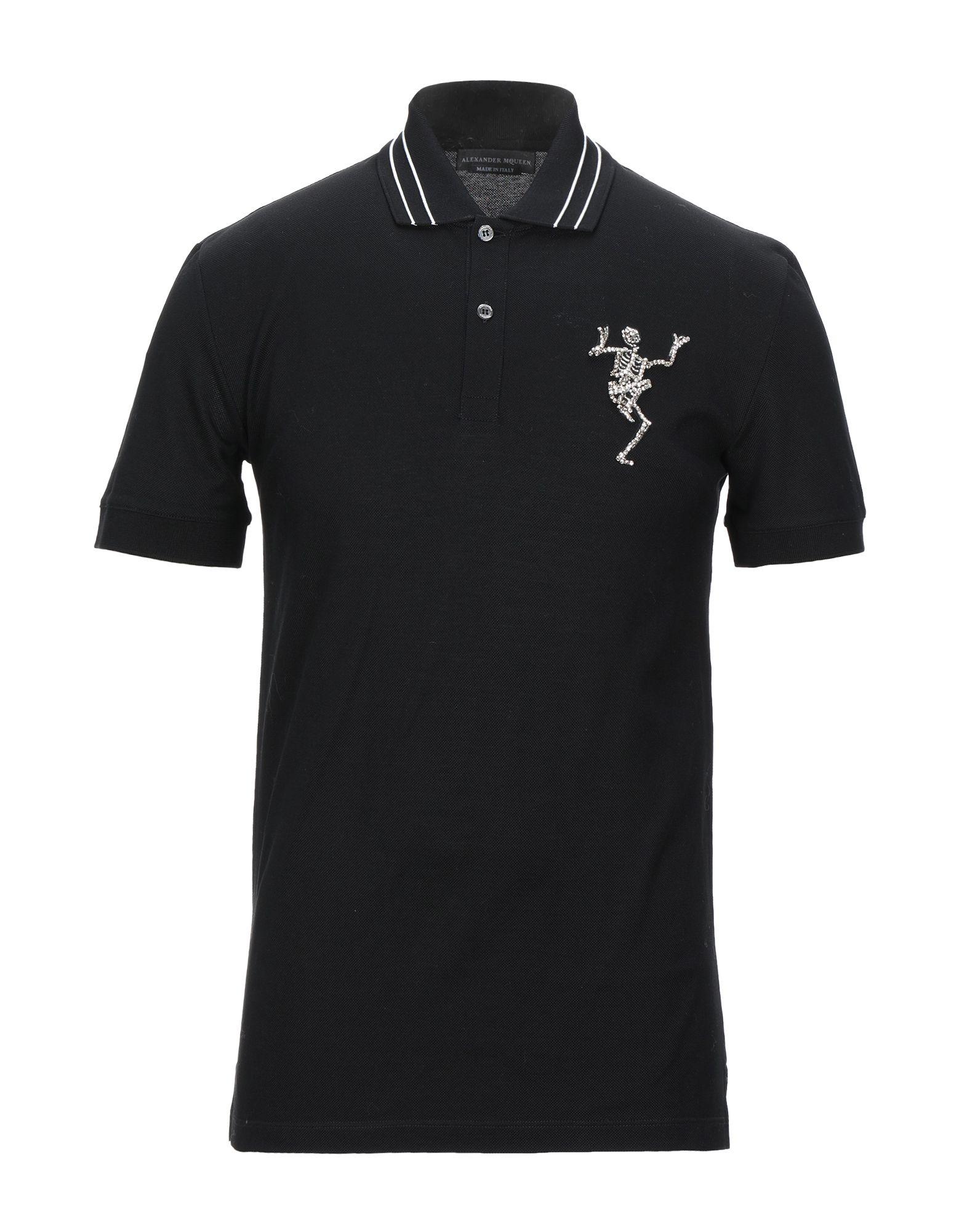 《セール開催中》ALEXANDER MCQUEEN メンズ ポロシャツ ブラック S コットン 100% / 真鍮/ブラス / ガラス