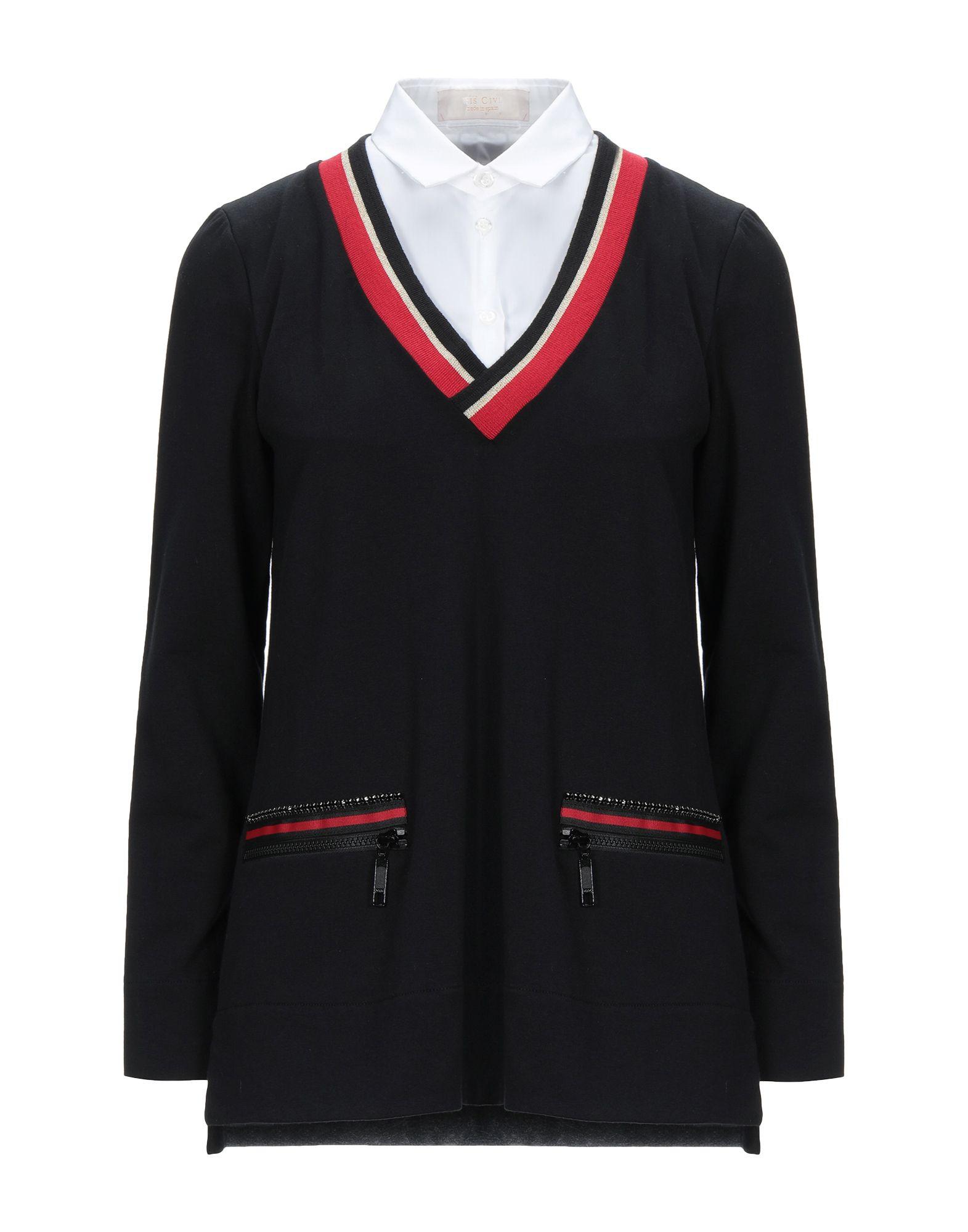 《セール開催中》LUIS CIVIT レディース スウェットシャツ ブラック 38 コットン 96% / ポリウレタン 4%