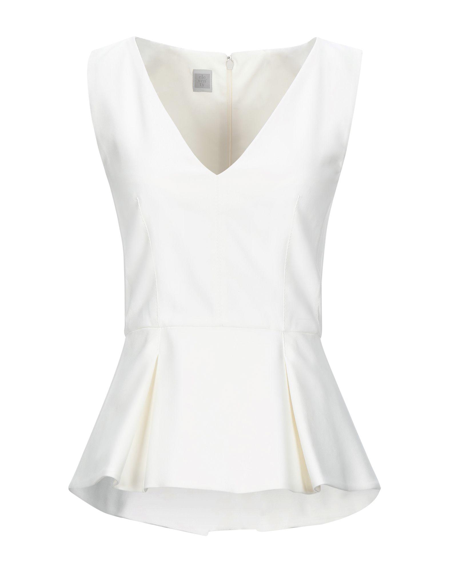 ELEVENTY Tops. plain weave, no appliqués, solid color, v-neck, sleeveless, rear closure, zipper closure, no pockets, stretch. 50% Cotton, 48% Viscose, 2% Elastane