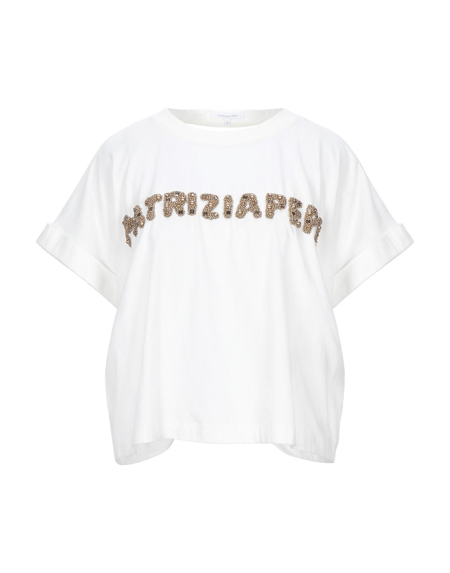 《セール開催中》PATRIZIA PEPE レディース T シャツ ホワイト 0 コットン 100% / 金属 / ガラス