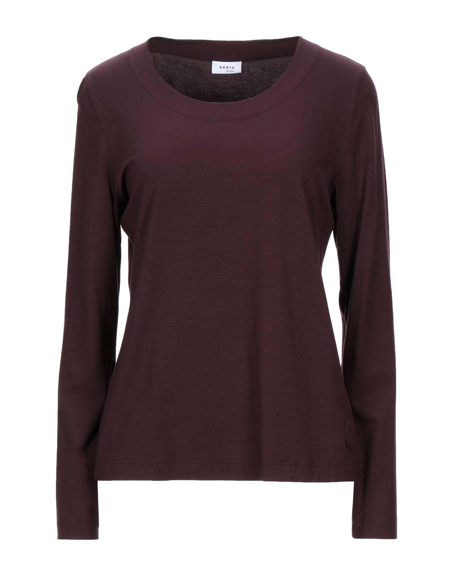 AKRIS PUNTO T-shirts. jersey, no appliqués, basic solid color, round collar, long sleeves, no pockets, stretch. 95% Modal, 5% Elastane