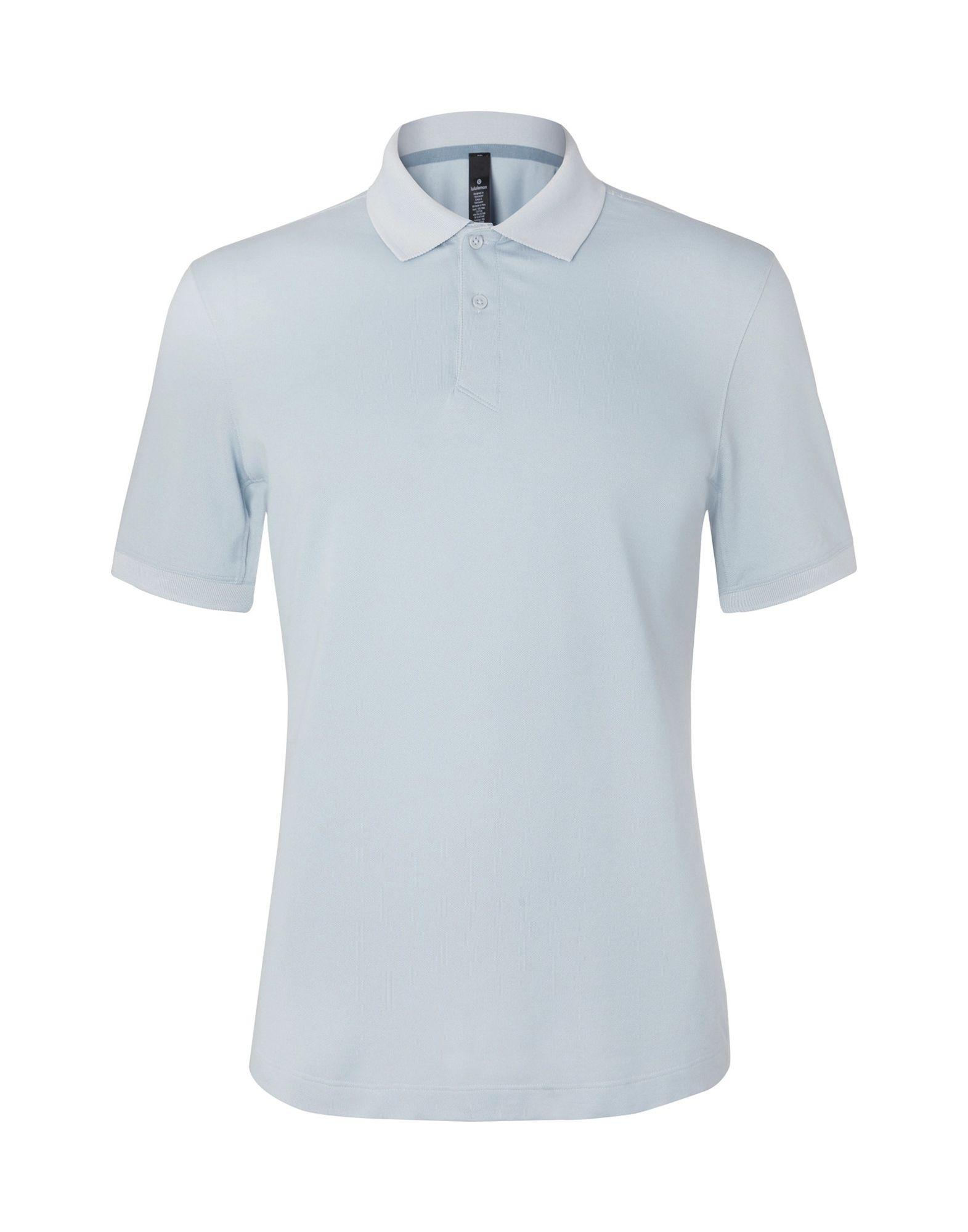 LULULEMON Polo shirts. piqué, no appliqués, basic solid color, polo collar, short sleeves, no pockets, stretch. 52% Supima Cotton, 45% Polyester, 3% Elastane