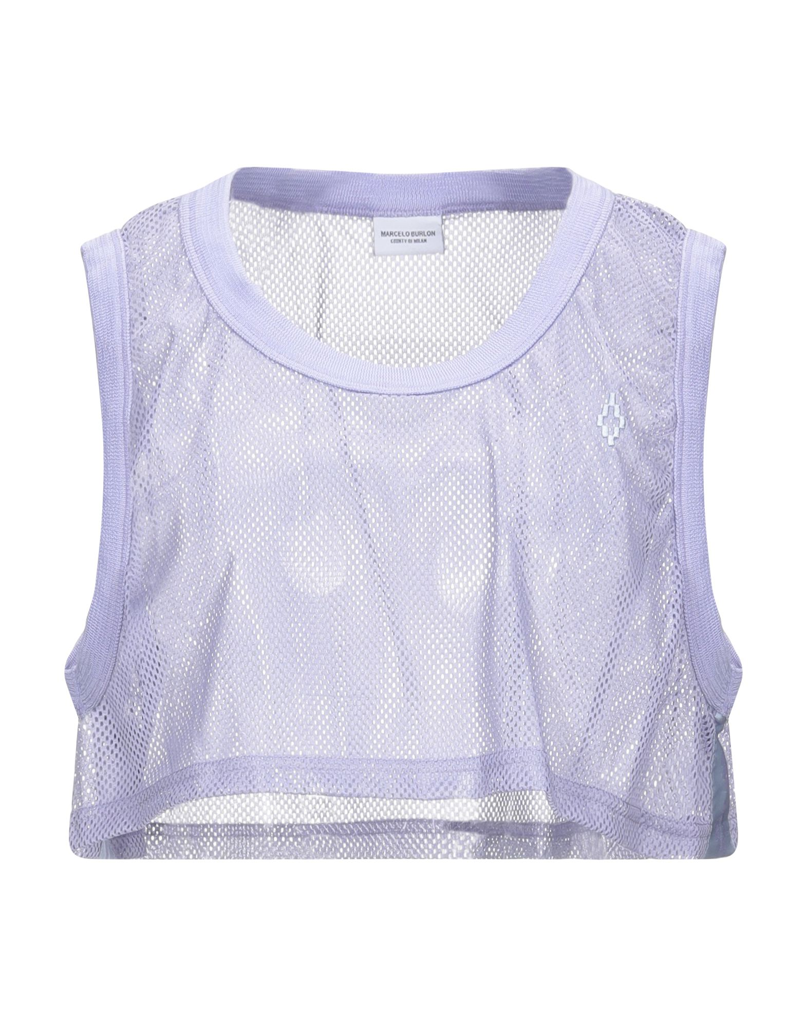 MARCELO BURLON Tops. techno fabric, logo, solid color, round collar, sleeveless, no pockets. 60% Polyamide, 40% Nylon