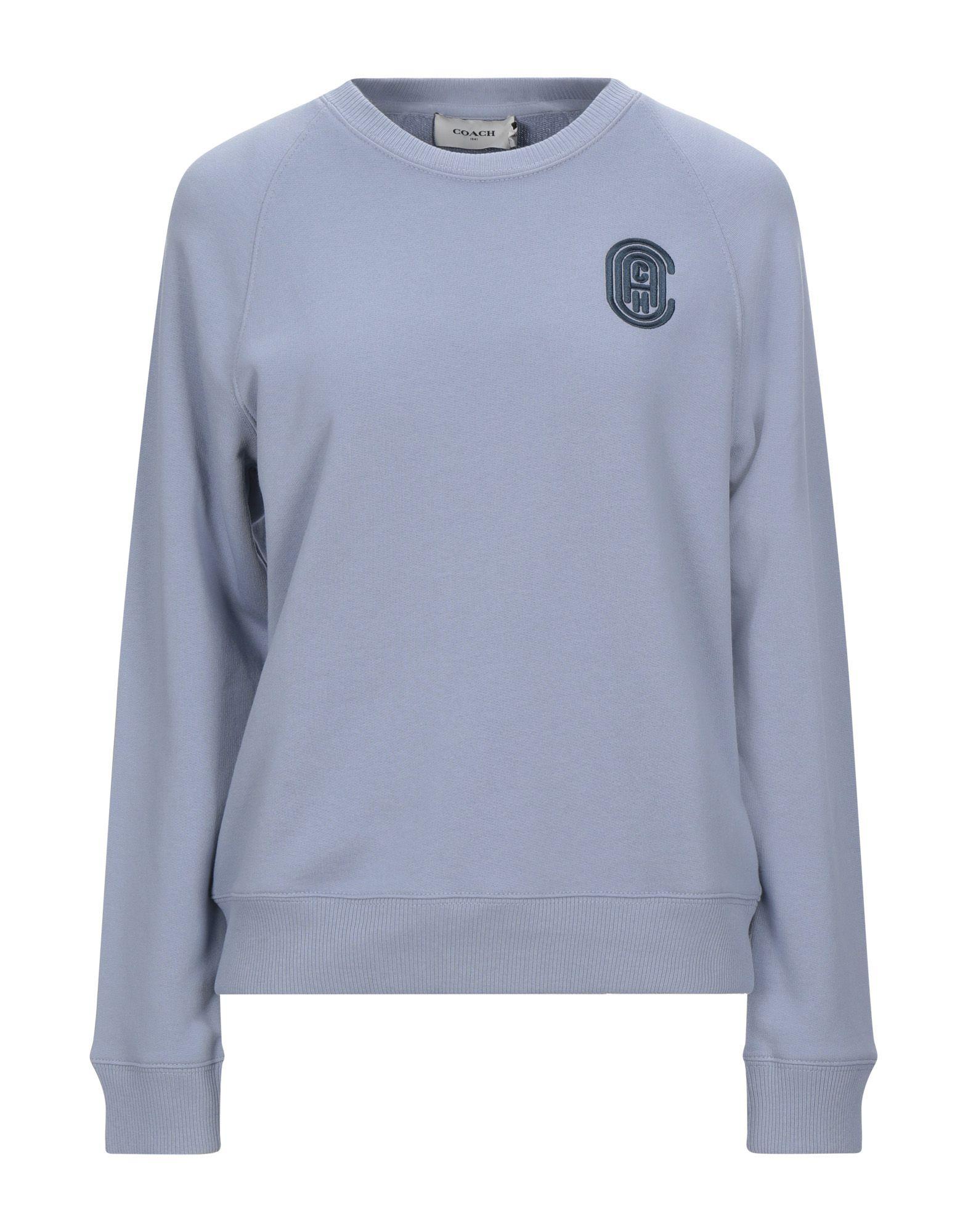 COACH Sweatshirts. sweatshirt fleece, embroidered detailing, solid color, round collar, long sleeves, no pockets. 100% Cotton