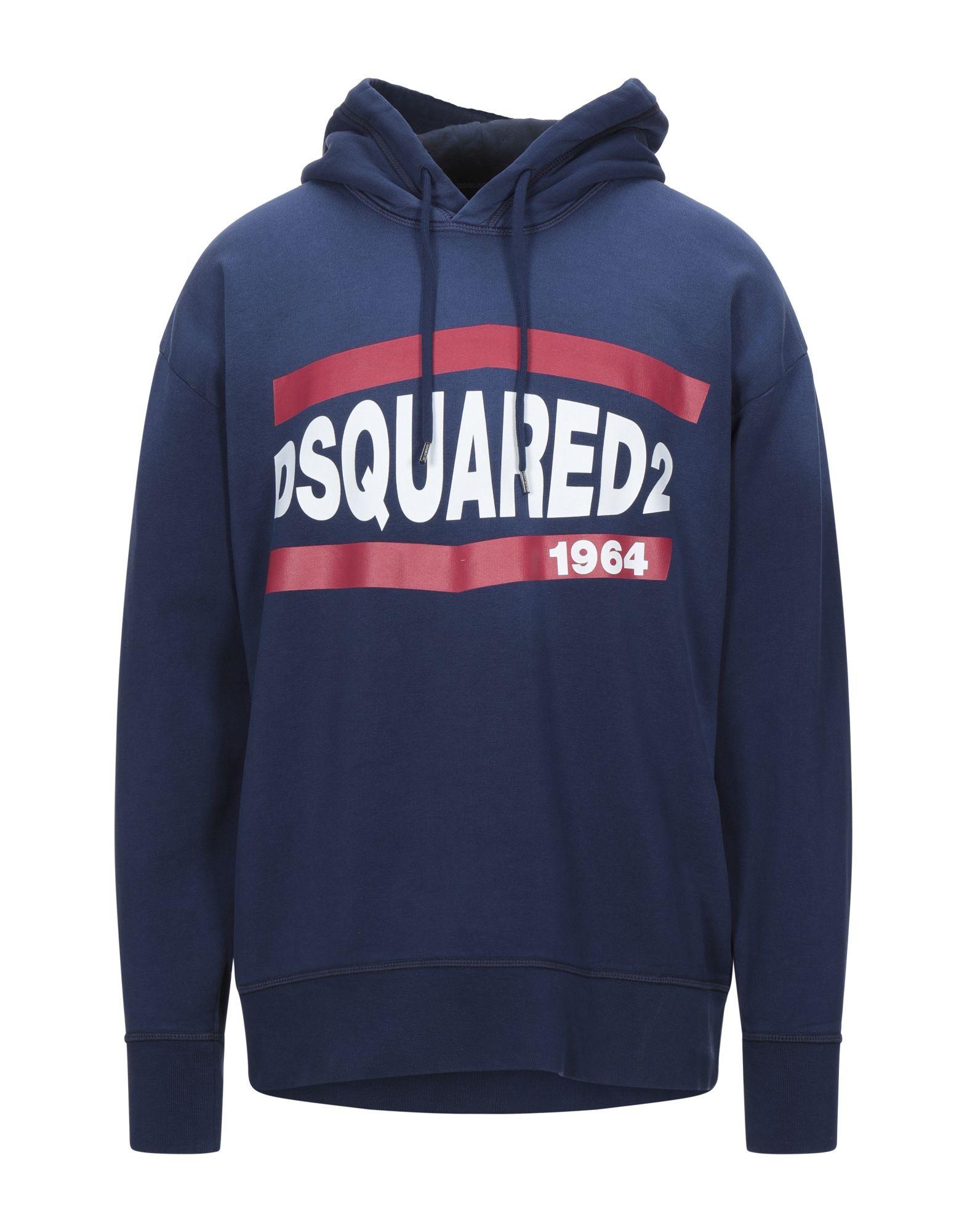 DSQUARED2 Sweatshirts. sweatshirt fleece, print, logo, faded, solid color, hooded collar, long sleeves, drawstring closure, no pockets, fleece lining. 100% Cotton, Elastane
