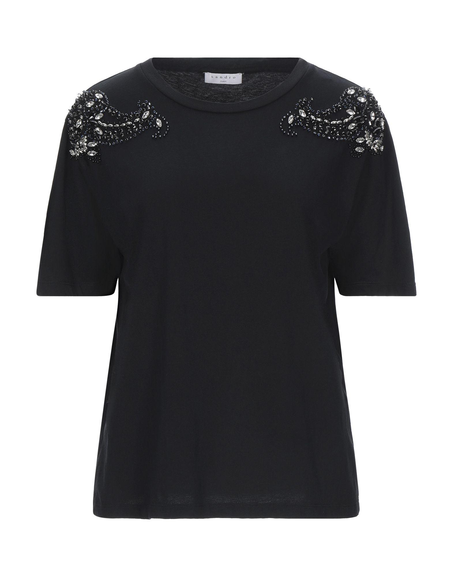 《セール開催中》SANDRO レディース T シャツ ブラック 1 コットン 100% / ガラス / 銅 / ポリ塩化ビニル / 合金