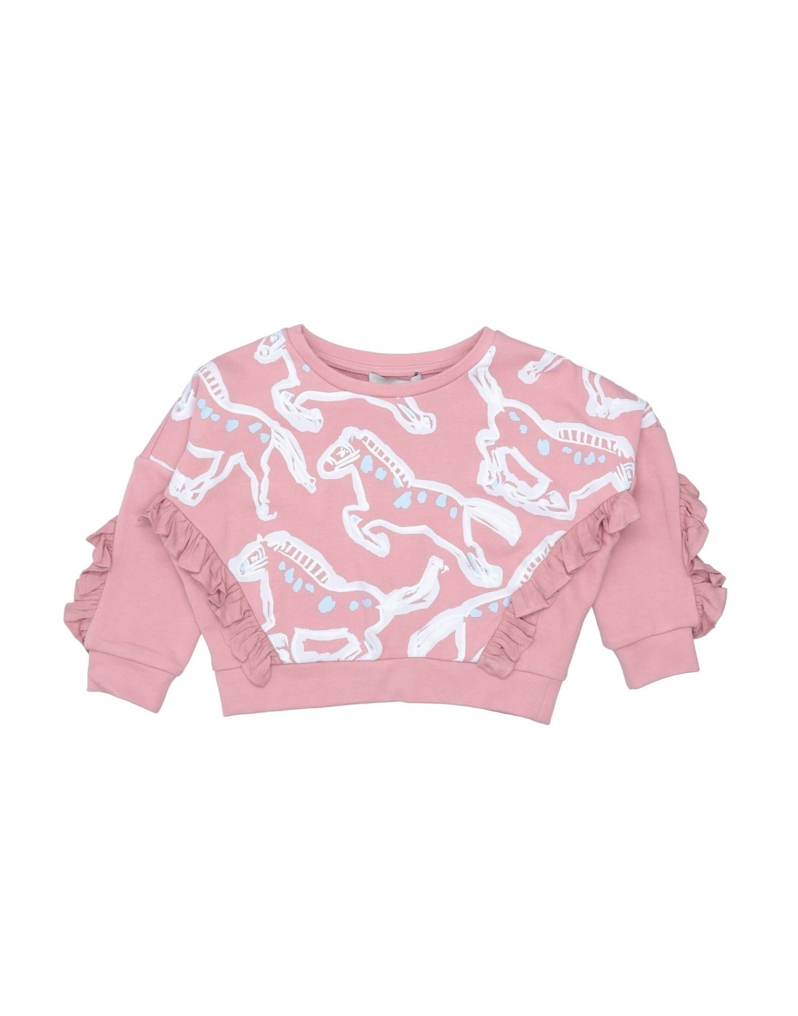 STELLA McCARTNEY KIDS Sweatshirts. sweatshirt fleece, plain weave, print, ruffles, multicolor pattern, round collar, long sleeves, no pockets, french terry lining, wash at 30degree c, dry cleanable, iron at 110degree c max, do not bleach, do not tumble dry. 100% Cotton, Viscose, Elastane