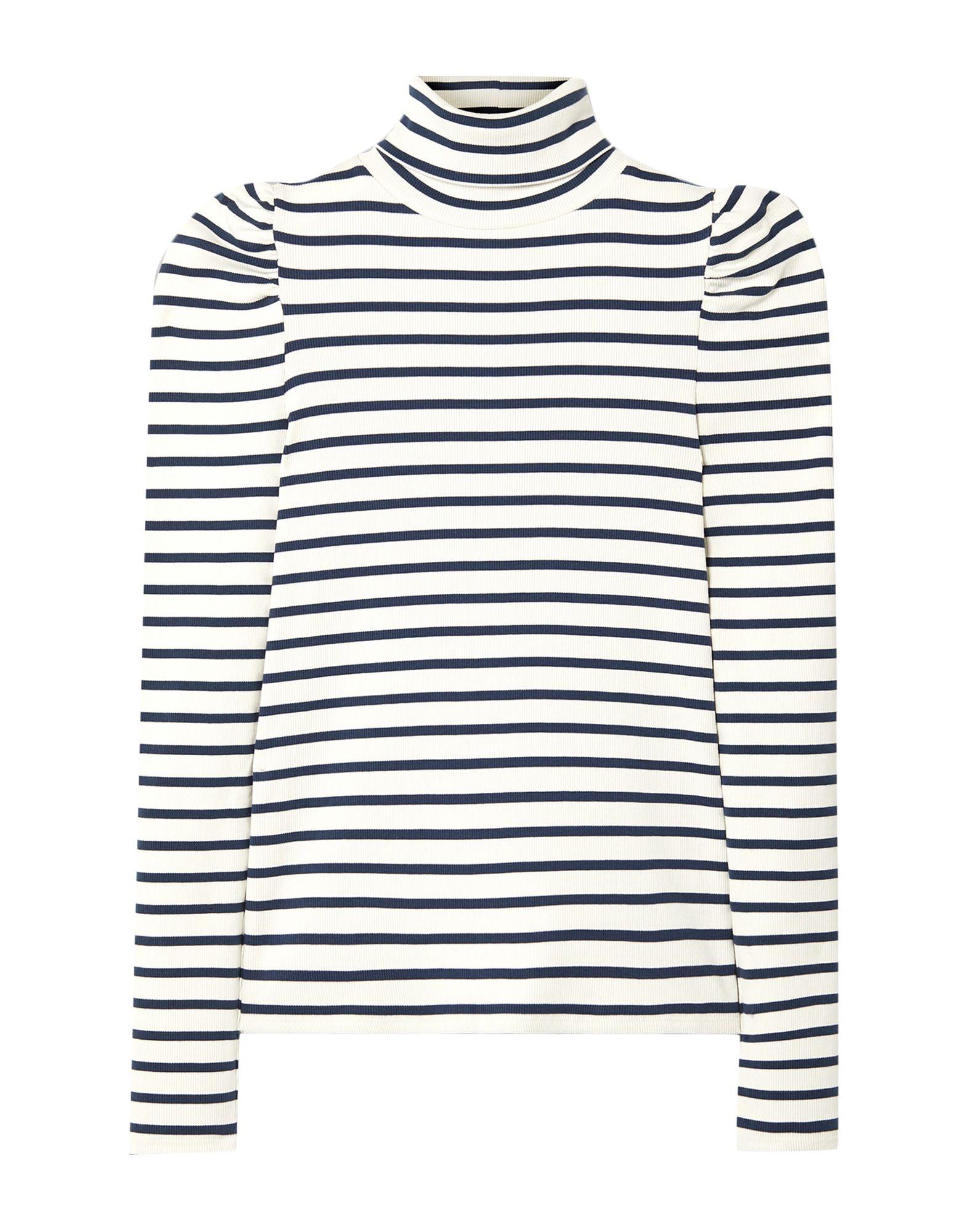 VERONICA BEARD T-shirts. jersey, no appliqués, stripes, turtleneck, long sleeves, no pockets, stretch. 97% Supima Cotton, 3% Elastane