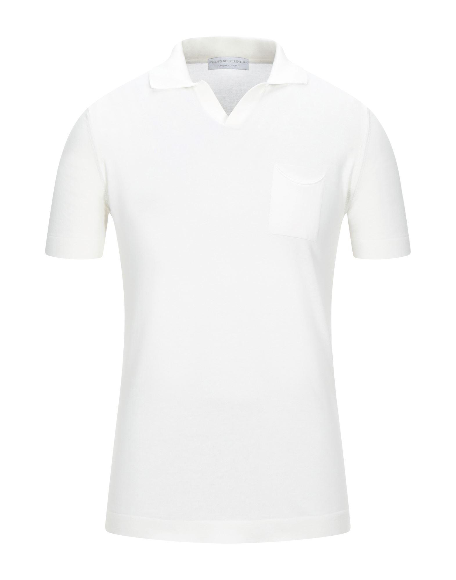 《セール開催中》FILIPPO DE LAURENTIIS メンズ ポロシャツ ホワイト 46 コットン 100%