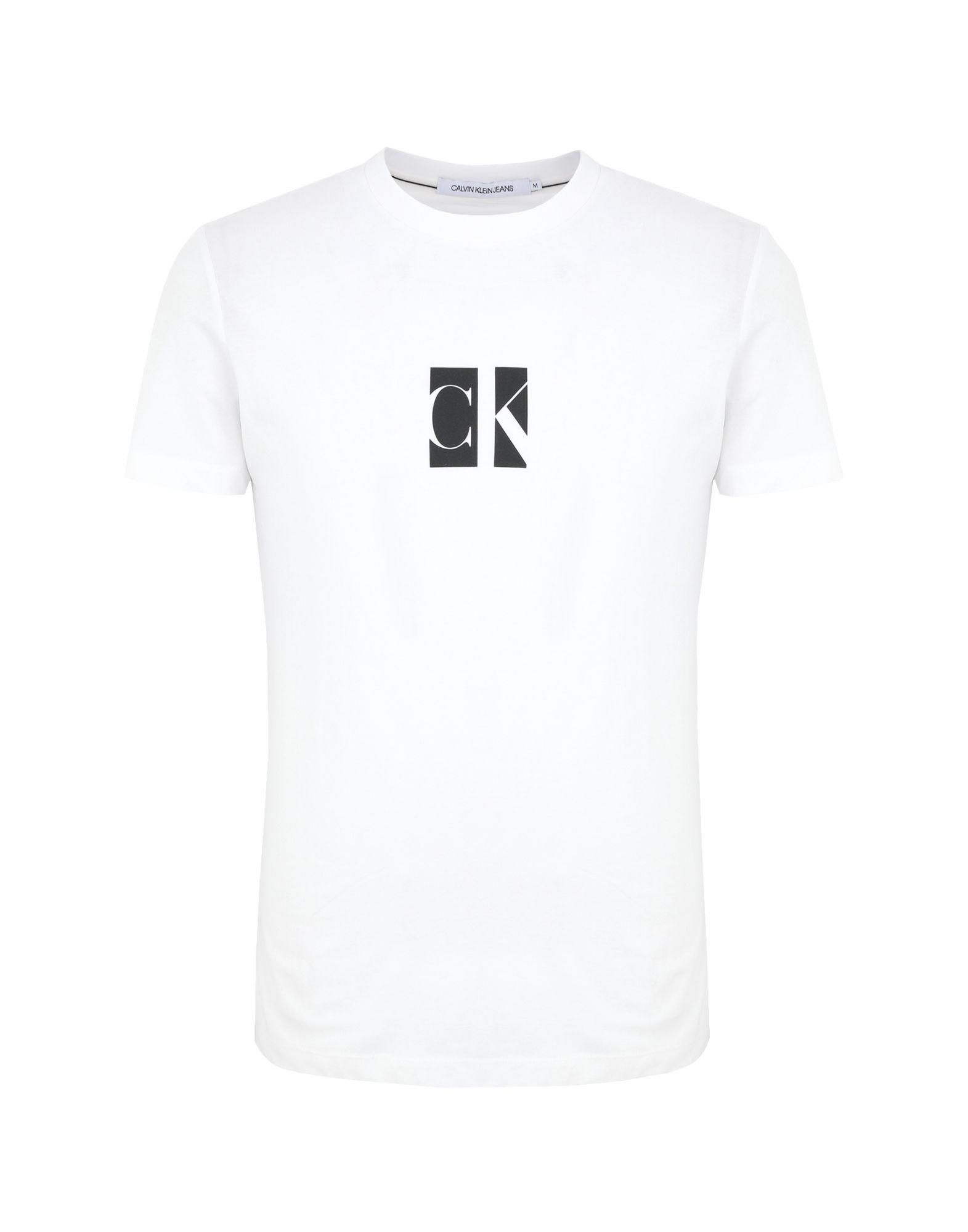 《セール開催中》CALVIN KLEIN JEANS メンズ T シャツ ホワイト S オーガニックコットン 100% SMALL CENTER CK BOX T-SHIRT