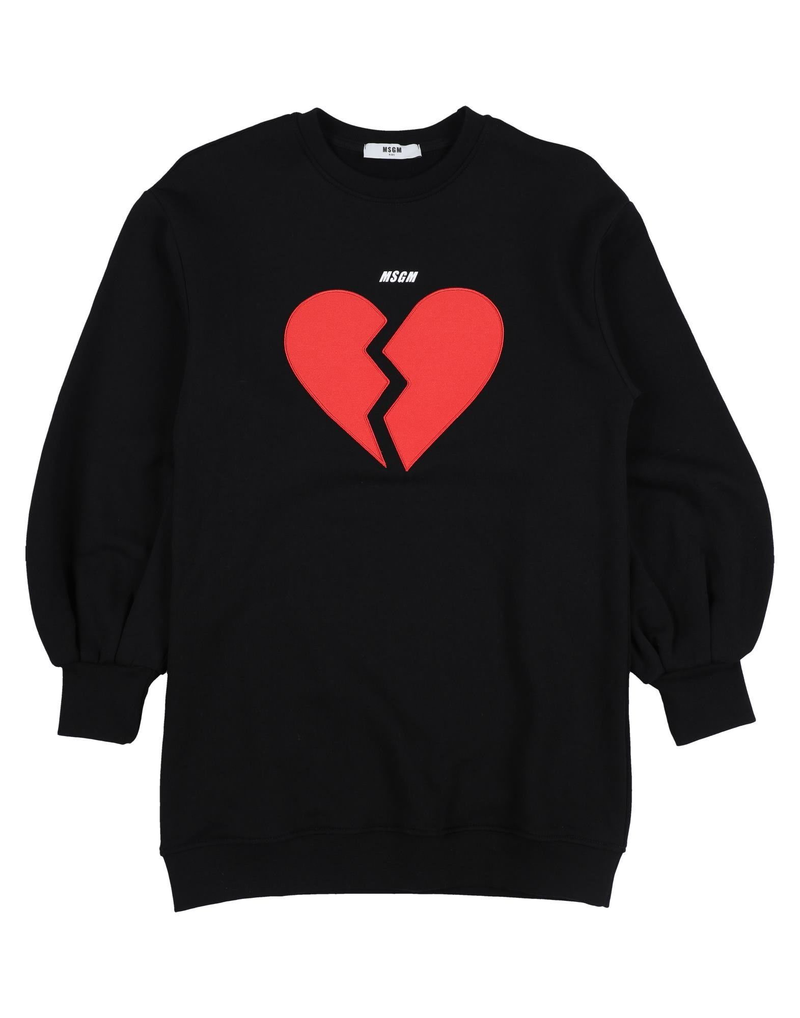 MSGM Dresses. sweatshirt fleece, logo, contrasting applications, solid color, round collar, long sleeves, no pockets, fleece lining, wash at 30degree c, do not dry clean, iron at 110degree c max, do not bleach, do not tumble dry. 100% Cotton