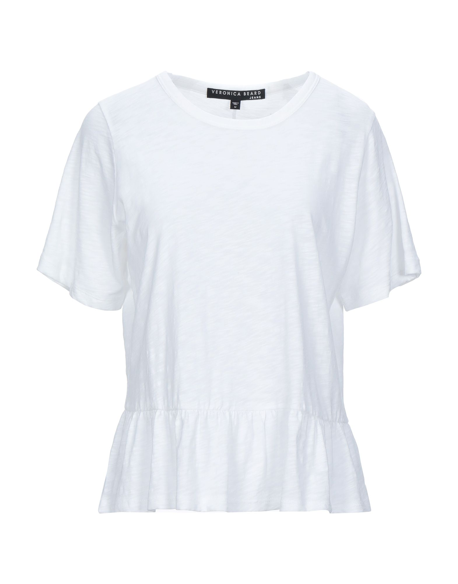 VERONICA BEARD T-shirts. jersey, frills, basic solid color, round collar, short sleeves, no pockets. 100% Supima Cotton