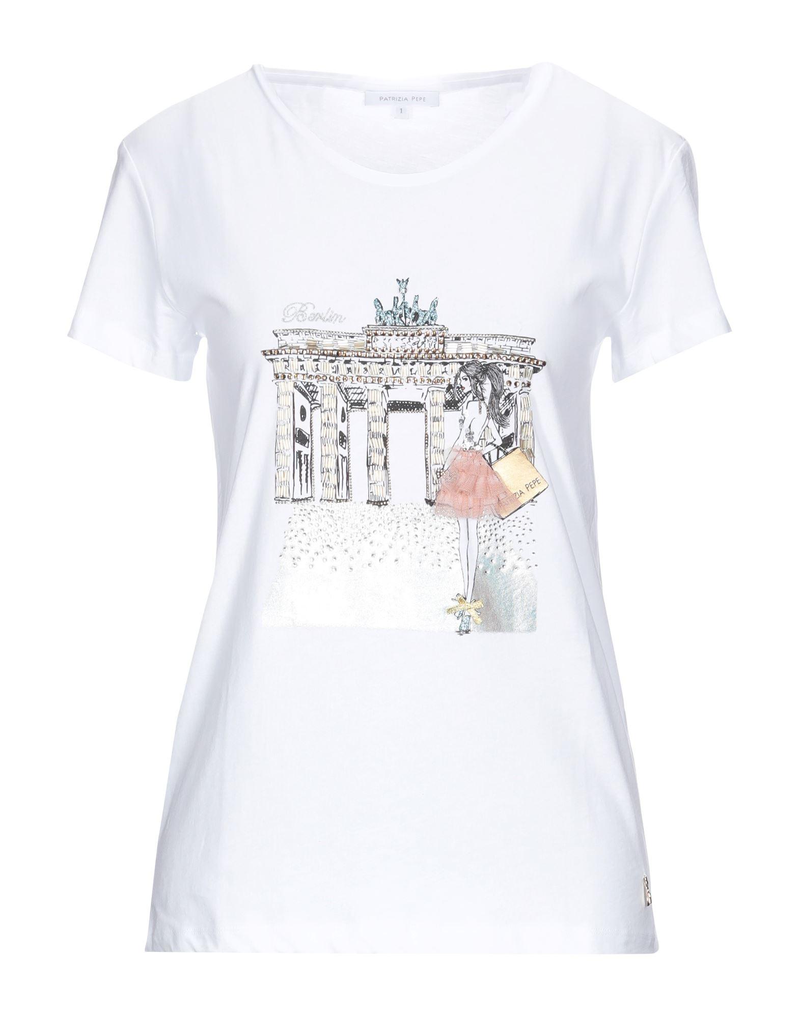 《セール開催中》PATRIZIA PEPE レディース T シャツ ホワイト 1 コットン 100% / ポリエステル / ガラス