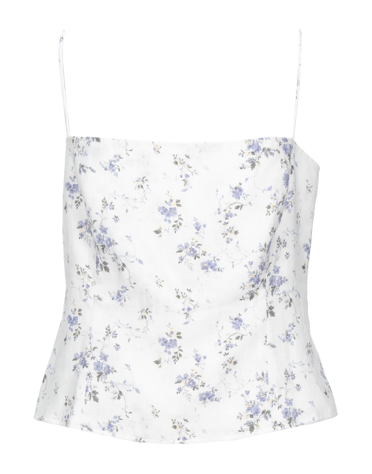 REFORMATION Tops. plain weave, no appliqués, floral design, deep neckline, sleeveless, front closure, zipper closure, no pockets. 100% Linen