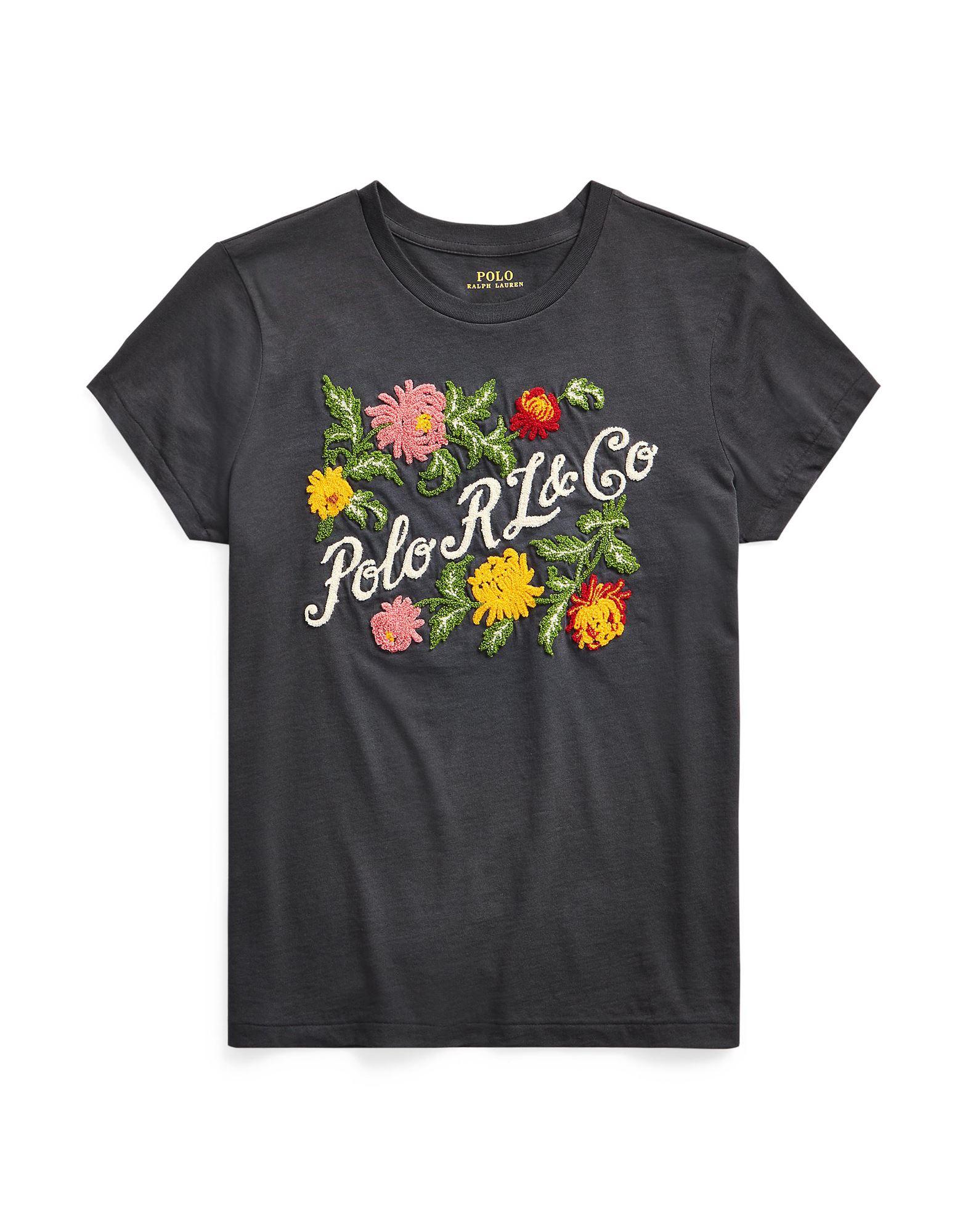 《セール開催中》POLO RALPH LAUREN レディース T シャツ 鉛色 XS コットン 100% FLOWER RL LOGO SHORT SLEEVE T-SHIRT