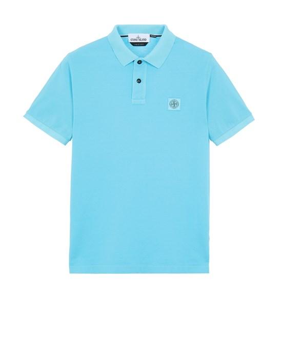 STONE ISLAND 22S67 PIGMENT DYE TREATMENT Polo shirt Man Turquoise