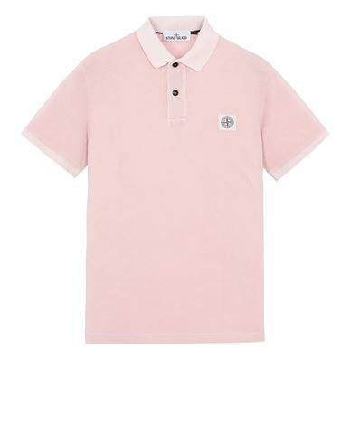 STONE ISLAND 22S67 PIGMENT DYE TREATMENT Polo shirt Man Pastel pink EUR 149