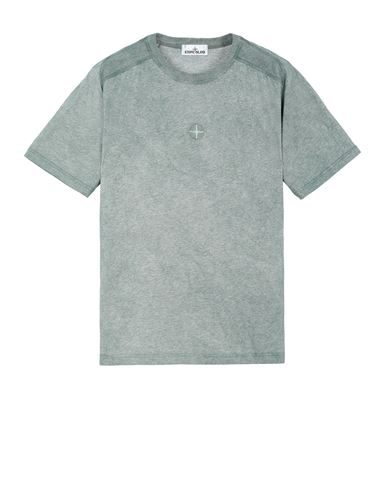 STONE ISLAND 22993 DUST COLOUR TREATMENT  Short sleeve t-shirt Man Dark Teal Green MELANGE EUR 149