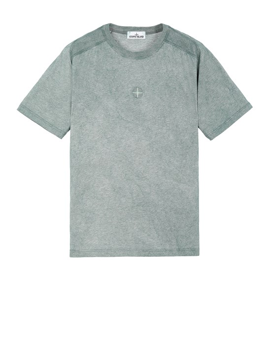 STONE ISLAND 22993 DUST COLOUR TREATMENT  Short sleeve t-shirt Man Dark Teal Green MELANGE