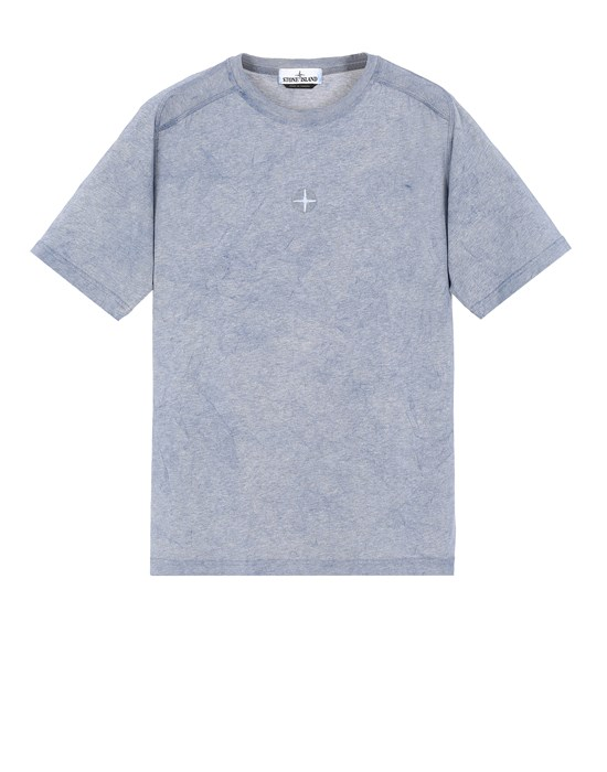STONE ISLAND 22993 DUST COLOUR TREATMENT  Short sleeve t-shirt Man Avio Blue MELANGE