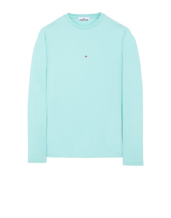 Sold out - Other colors available STONE ISLAND 215X3 STONE ISLAND MARINA<br>POLYESTER SEAQUAL® YARN/COTTON JERSEY  Long sleeve t-shirt Man Aqua