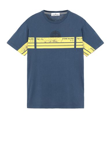 STONE ISLAND 2NS74 'BLOCK THREE' Short sleeve t-shirt Man Avio Blue EUR 145