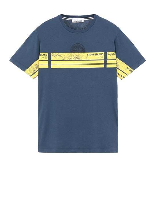 STONE ISLAND 2NS74 'BLOCK THREE' Short sleeve t-shirt Man Avio Blue