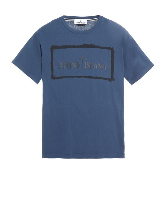 STONE ISLAND 2NS80 'STENCIL ONE' Short sleeve t-shirt Man Avio Blue