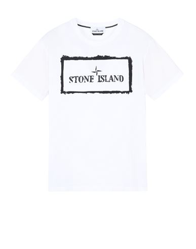 STONE ISLAND 2NS80 'STENCIL ONE' Short sleeve t-shirt Man White USD 125