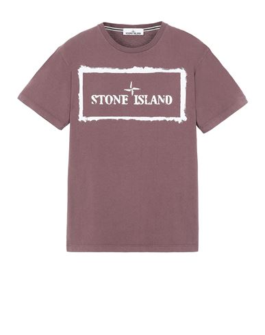 STONE ISLAND 2NS80 'STENCIL ONE' Short sleeve t-shirt Man Dark Burgundy USD 142