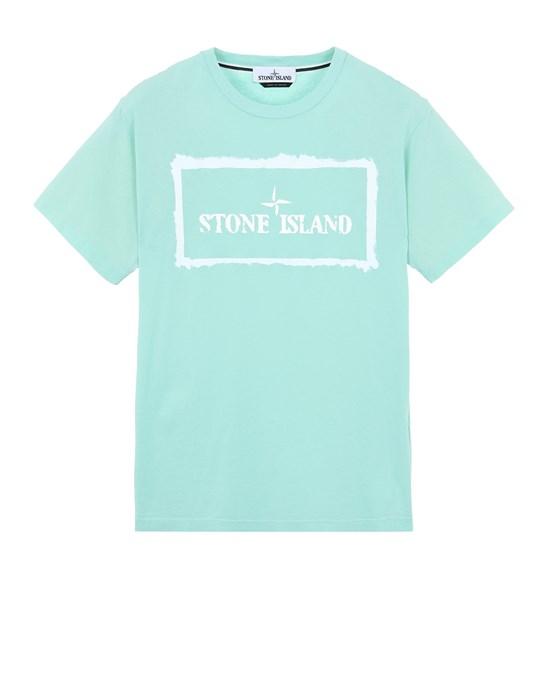 STONE ISLAND 2NS80 'STENCIL ONE' Short sleeve t-shirt Man Aqua