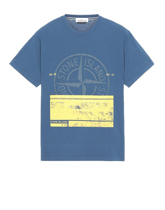STONE ISLAND 2NS65 'BLOCK ONE' Short sleeve t-shirt Man Avio Blue