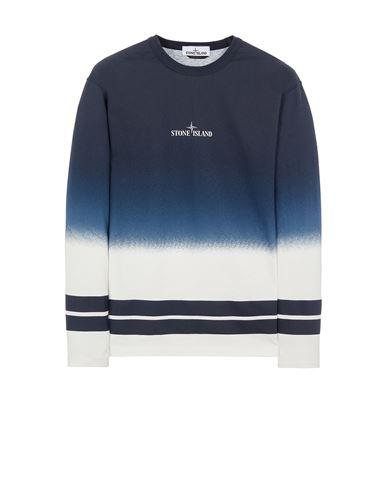 STONE ISLAND 23541 'SHADED PRINT' + STRIPES Long sleeve t-shirt Man Avio Blue EUR 229