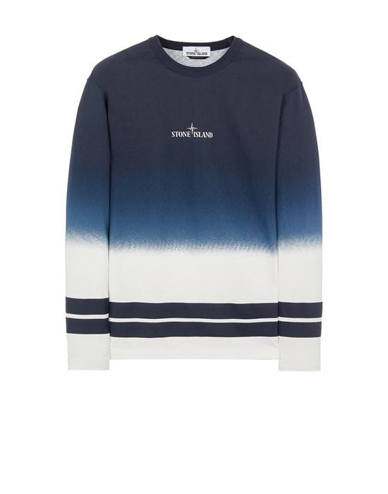 STONE ISLAND 23541 'SHADED PRINT' + STRIPES Long sleeve t-shirt Man Avio Blue