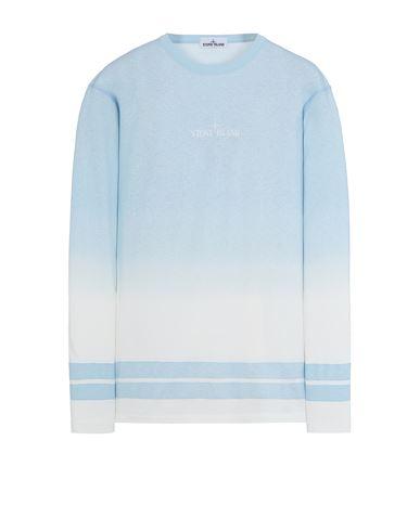 STONE ISLAND 23541 'SHADED PRINT' + STRIPES Long sleeve t-shirt Man Sky Blue EUR 229