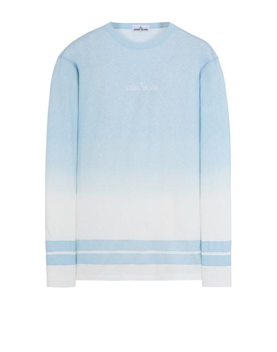 STONE ISLAND 23541 'SHADED PRINT' + STRIPES Long sleeve t-shirt Man Sky Blue