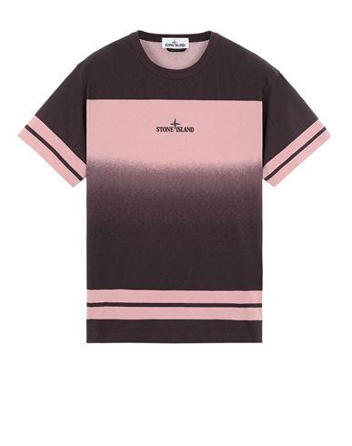 STONE ISLAND 23340 'SHADED PRINT' + STRIPES Short sleeve t-shirt Man Dark Burgundy EUR 142