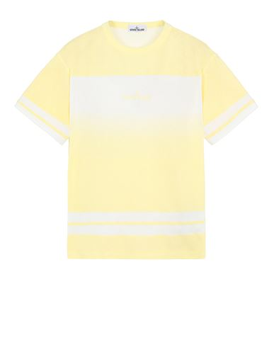 STONE ISLAND 23340 'SHADED PRINT' + STRIPES Short sleeve t-shirt Man Lemon EUR 189