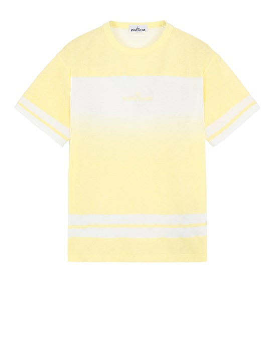 STONE ISLAND 23340 'SHADED PRINT' + STRIPES Short sleeve t-shirt Man Lemon