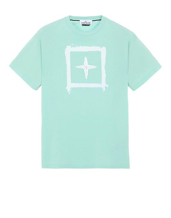 STONE ISLAND 2NS81 'STENCIL TWO' Short sleeve t-shirt Man Aqua