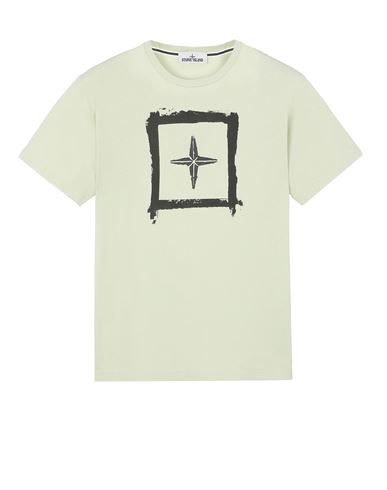 STONE ISLAND 2NS81 'STENCIL TWO' Short sleeve t-shirt Man Light Green EUR 103