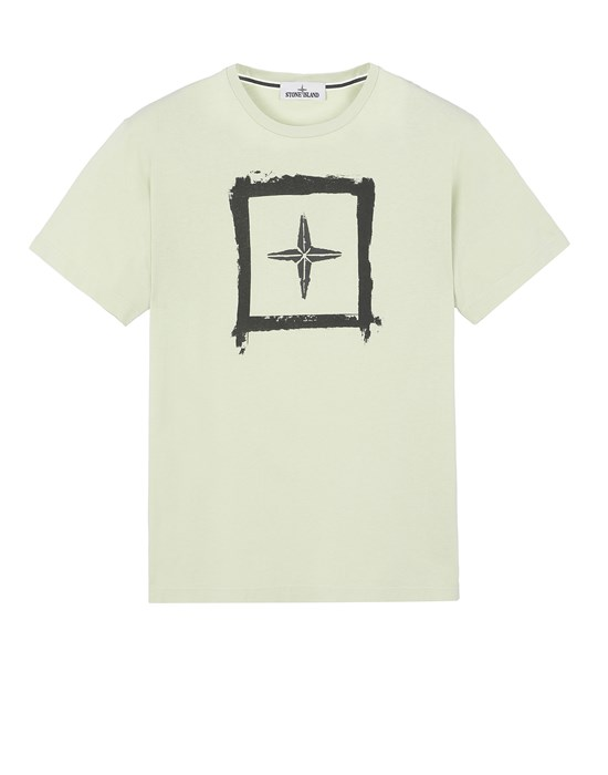 STONE ISLAND 2NS81 'STENCIL TWO' Short sleeve t-shirt Man Light Green